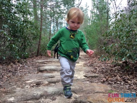 We gave our son time to walk parts of the Benton Falls Trail on his own.