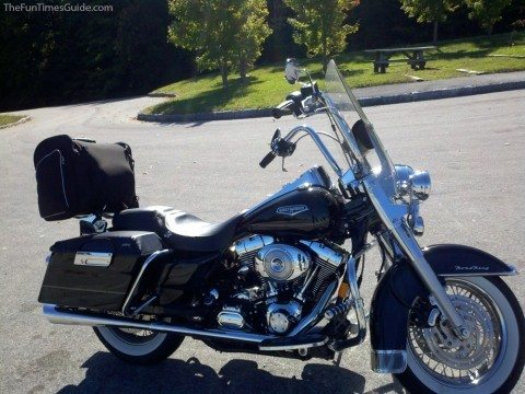 Our motorcycle with fully packed saddlebags and Harley luggage bag on the back.