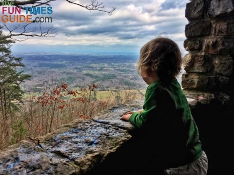 My son enjoying the views at Gazebo Outlook.