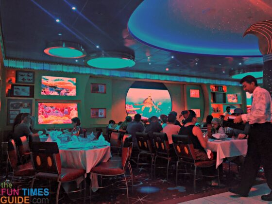 This is the amazing Animator's Palate restaurant / dining room on the Disney Dream cruise ship.