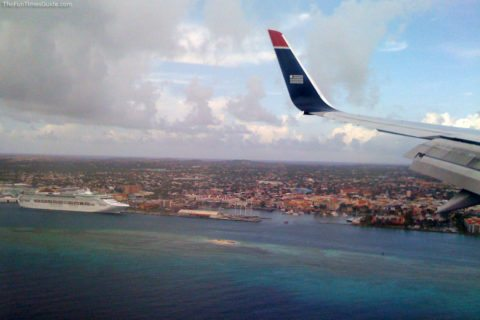 Here we are flying into the Aruba airport on our first vacation in Aruba