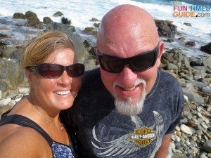 Enjoying one of many stops along the way on our self-guided Jeep tour of Aruba.