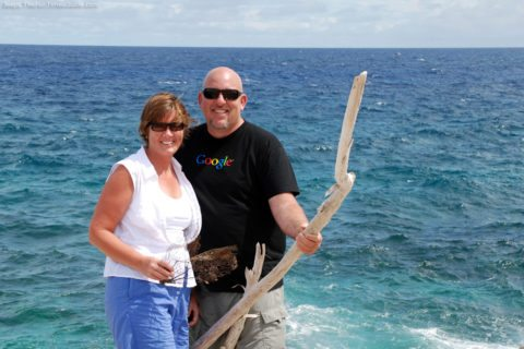 Here Jim and I are collecting fun things on the beach during our Aruba vacation.