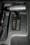 Automatic gear shift inside a 2004 Jeep Wrangler Unlimited.