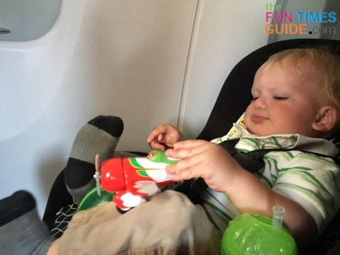 My son enjoyed flying on an airplane in his car seat (after we scored an extra seat).