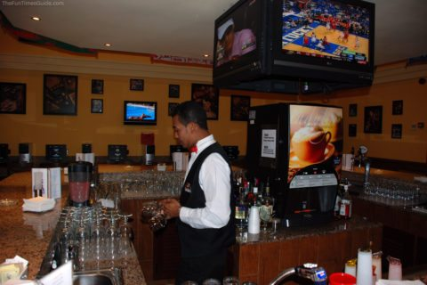 Our favorite bartender at the RIU Palace Hotel in Aruba. This is the sports bar in our hotel