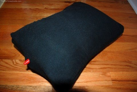 This travel pillow has an inflatable bladder surrounded by foam padding on 2 sides and a soft fleece cover on the outside. I LOVE it! photo by Lynnette at TheFunTimesGuide.com