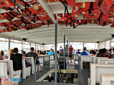 The ferry ride that takes you from the ships' port at the Bahamas to Blue Lagoon Island is shared with cruise passengers from all of the ships that happen to be docked on that day.
