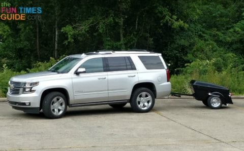 We were a little unprepared when we when motorcycle trailer shopping. We had to pull it behind our SUV to get it home!