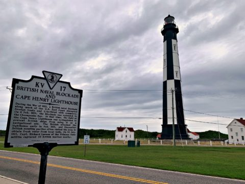 Cape Henry Lighthouse at Fort Story Navy Base in Virginia Beach
