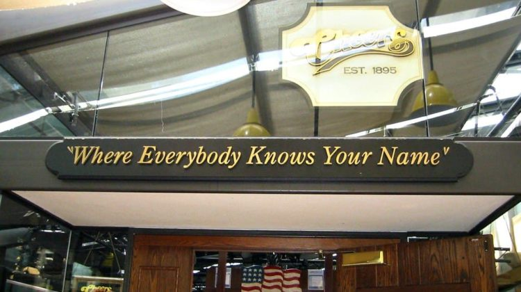 This is the replica Cheers bar at Faneuil Hall Marketplace in Boston.