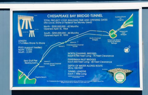 The Chesapeake Bay Bridge Tunnel map