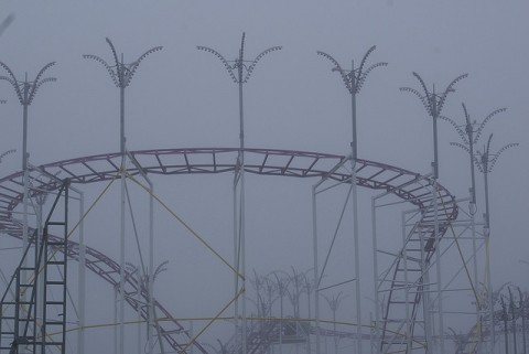 cold weather typically shuts down roller coasters that are made of steel