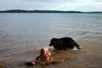 Destin and Sophie swimming in Percy Priest Lake... just minutes after we arrived at the campground.