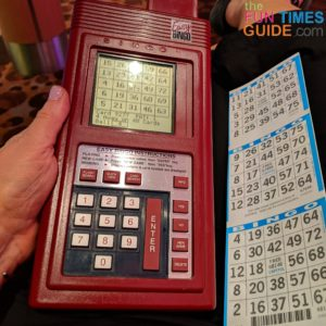 These were my 3 paper Bingo cards next to my 48 electronic Bingo cards on the machine.