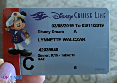 This is my Disney Cruise Card. You show it at your first dinner, whenever you buy a drink or spa treatment, every time you get on and off the boat, whenever you have your picture taken with a Disney character, any time you play Bingo on the ship, whenever you buy a souvenir.
