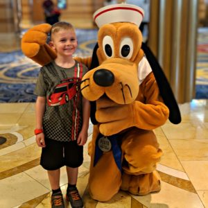 Pluto greeted us as soon as we stepped on the Disney Dream cruise ship.