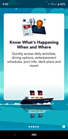 This is a screenshot of the Disney Cruise Line Navigator app on my phone - it only works while you're on the ship.