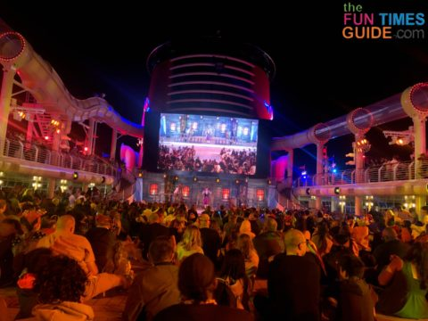 The pool deck is the hub of entertainment on the Disney Dream cruise ship.