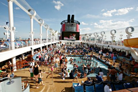 On the first day of the cruise, people swarm to the swimming pools!