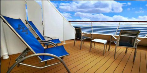 A closeup of the Disney Dream veranda / balcony.