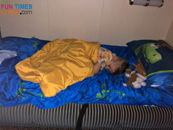 Kids love the extra touches that the stateroom host leaves behind... like these dinosaur bed sheets!