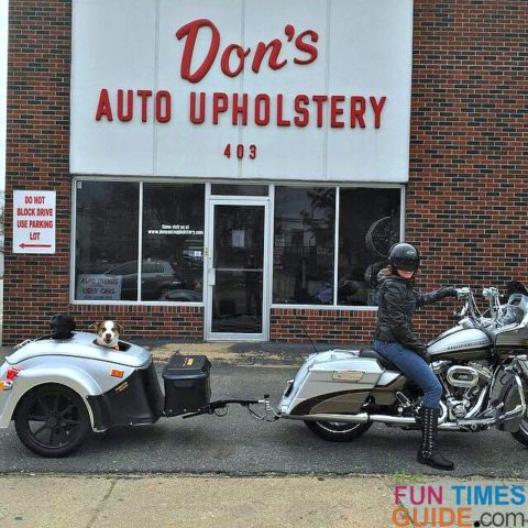 Don't Auto Upholstery helped us create this custom motorcycle dog trailer.