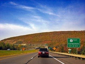 driving through the Pocono mountains on our Pennsylvania vacation
