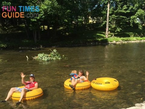 My family floating down the river on yellow tubes from River Rat Tubing Townsend TN.