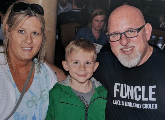 Cam's first Disney Dream cruise dinner photo with his Aunt and Funcle. (Yes, Jim is definitely a Fun Uncle!)