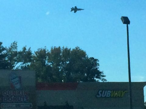 A fighter jet flying low in Virginia Beach