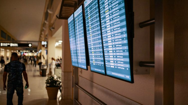 These large digital screens in airports show up-to-date departure and arrival times for all flights.