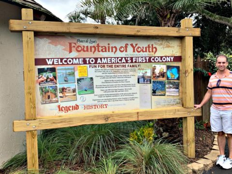 Welcome sign at the Fountain of Youth Archaeological Park in St. Augustine, FL.