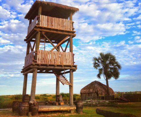 A replica of the Spanish lookout towers that were used at Fountain of Youth park.