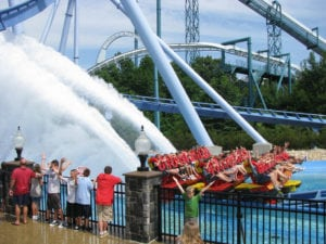 The Griffon roller coaster is a floorless dive roller coaster! It was the first of its kind to use floorless trains.