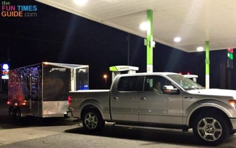 Our Ford F150 pulling our friends' 14-food enclosed motorcycle trailer from Nashville TN to Fort Collins CO.