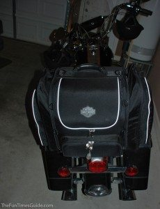 The harley luggage filled and stowed on the back of our 2005 Harley Road King. photo by Lynnette at TheFunTimesGuide.com