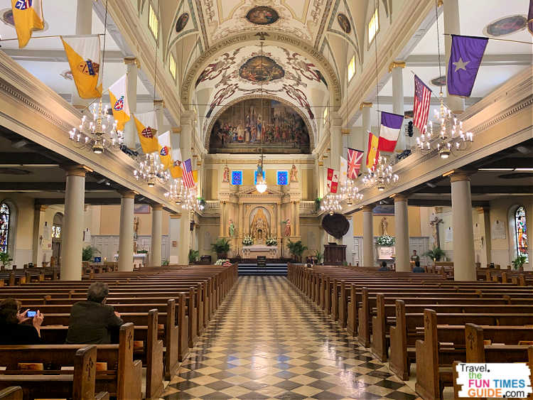 Inside the main sanctuary at St. Louis Cathedral New Orleans.