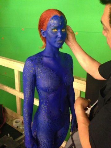 Jennifer Lawrence in her blue suit for the X Men movie, which takes 3 hours to apply. Jennifer used a Go Girl pee funnel to pee standing up during filming.
