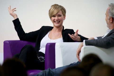 jennifer lawrence talks about how she has used a pee funnel and the Go Girl female urination device while filming movies