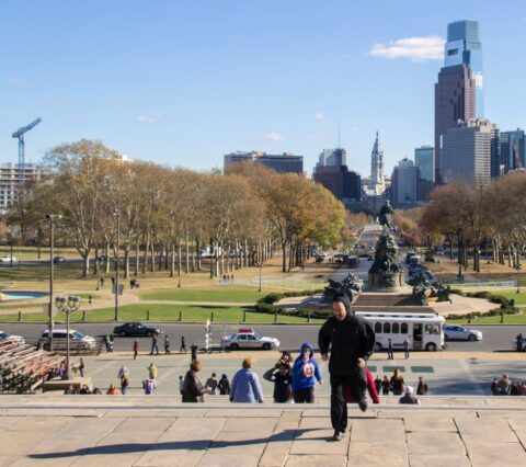 jogging up the rocky steps in philadelphia