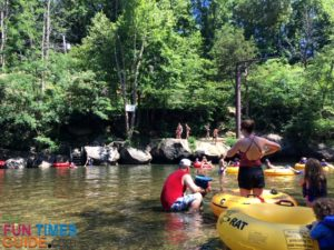 One of the shallow water areas near the jump rock on the family-friendly float with River Rat Tubing in Tennessee.