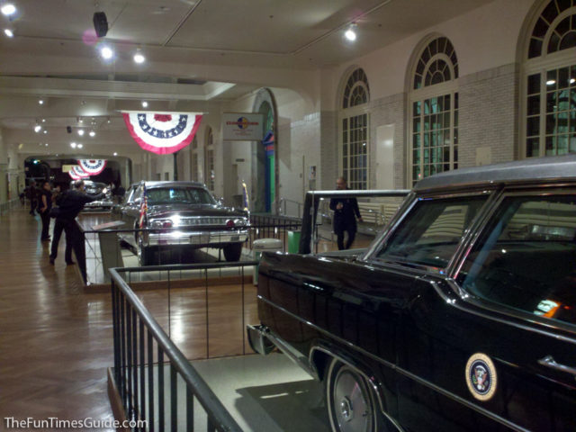 This Is The Reagan Car Followed By The Kennedy Car At The