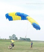 tandem skydive landing with knees up