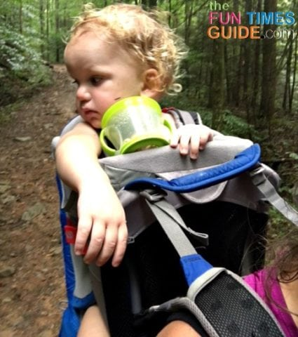 The mesh shoulder harness and backpanel on the Osprey baby carrier allow for airflow.