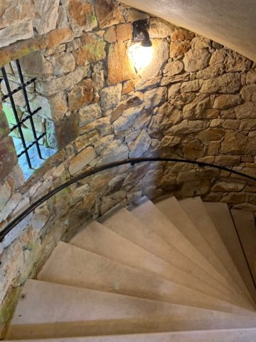 Spiral staircase inside the carillon tower