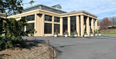 This is the front of the conservatory building at Longwood Gardens, PA.