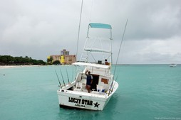Lucky Star -- the private charter, deep sea fishing boat we rented in Aruba.