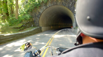 Enjoying the ride on our first multi-day motorcycle trip. This was a tunnel through the Smoky Mountains near Gatlinburg, TN. photo by Lynnette at TheFunTimesGuide.com