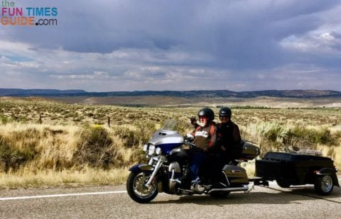 I'm taking a picture of my friend Kay taking a picture of us riding with our pull-behind motorcycle trailer.